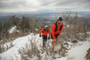 Ultra runners, Luke Nelson and Jeff Browning climbing up Grandeur Peak during the RUFA race.